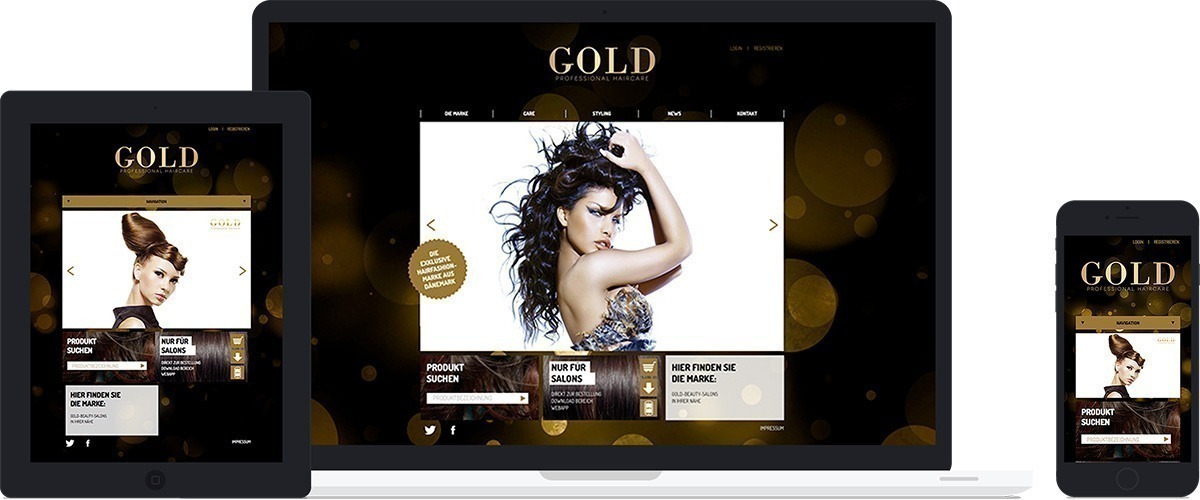 Gold Haircare - responsive Umsetzung des Screendesign